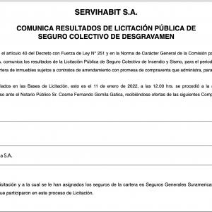 LLAMADO A LICITACION PUBLICA DE SEGUROS DE DESGRAVAMEN